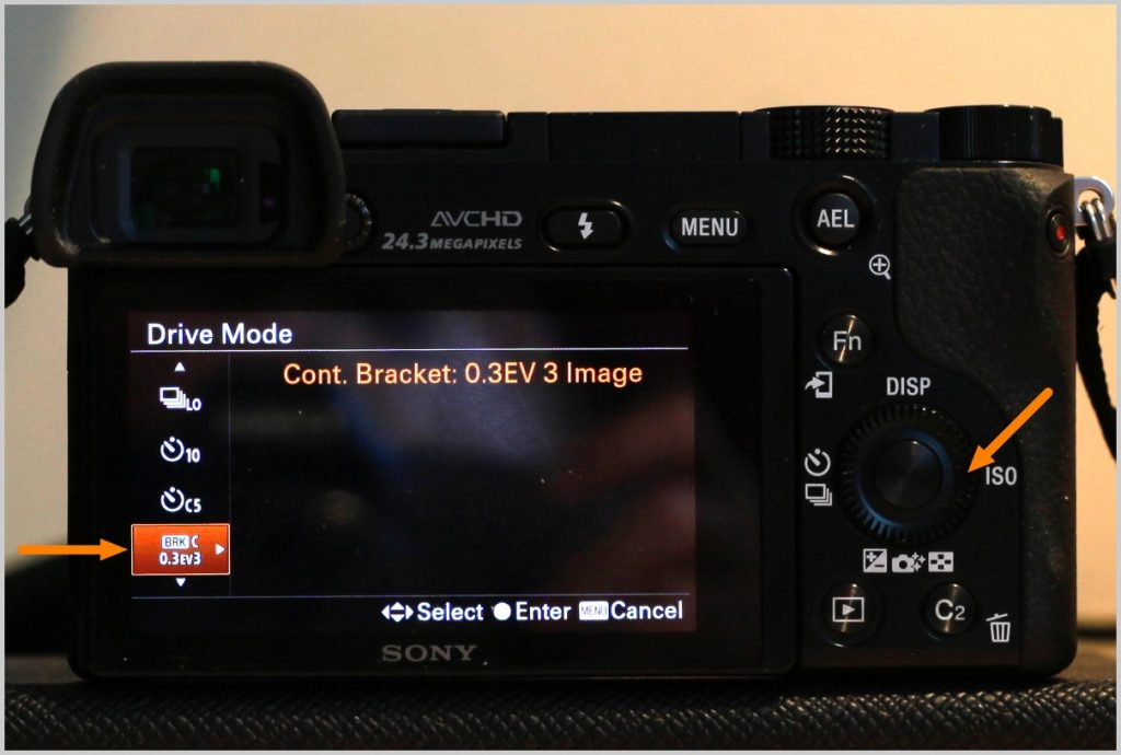 3-press-on-the-left-right-sides-of-the-control-wheel-to-select-a-continuous-bracketing-option