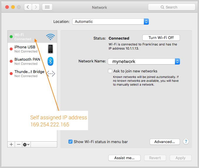 Network preference on macbook air