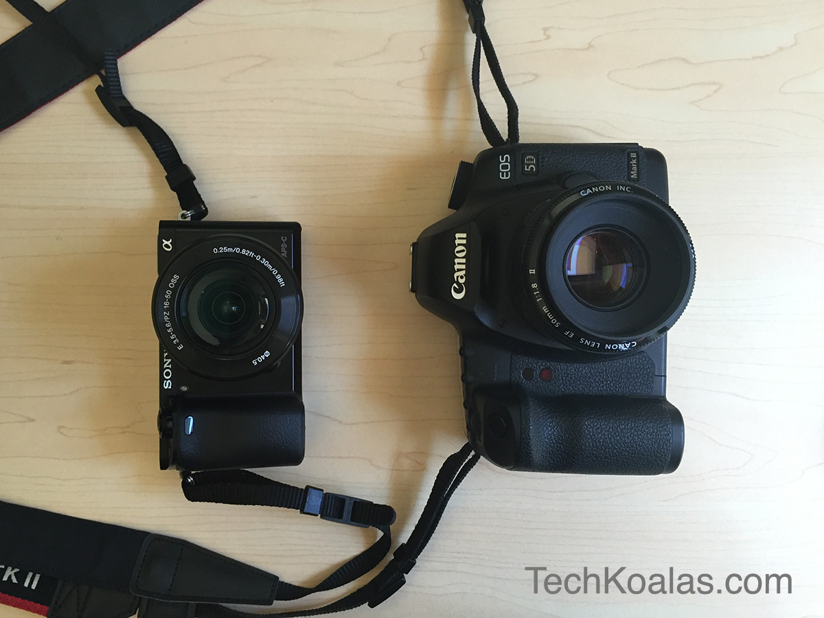 Photo of Sony mirrorless camera A6000 and Canon DSLR 5D Mk II side by side