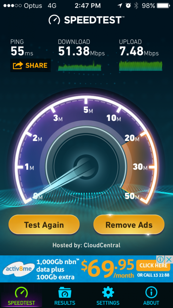 Optus 4G internet speed in Harrison, ACT, Australia