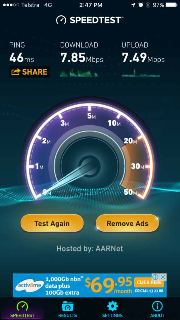 Telstra 4G internet speed in Harrison, ACT, Australia