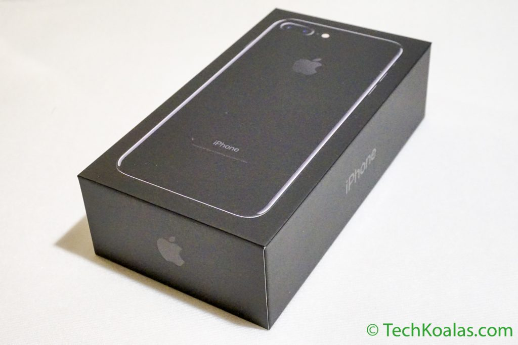 A box containing an Apple iPhone 7 Plus Jet Black with 128 GB