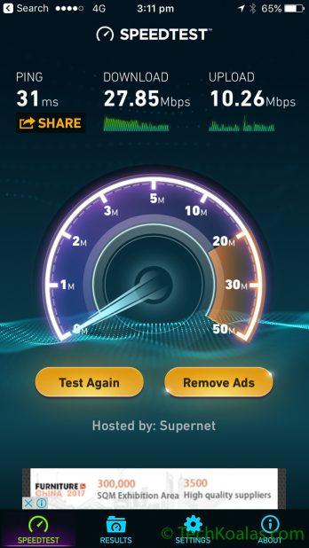 Speedtest app results