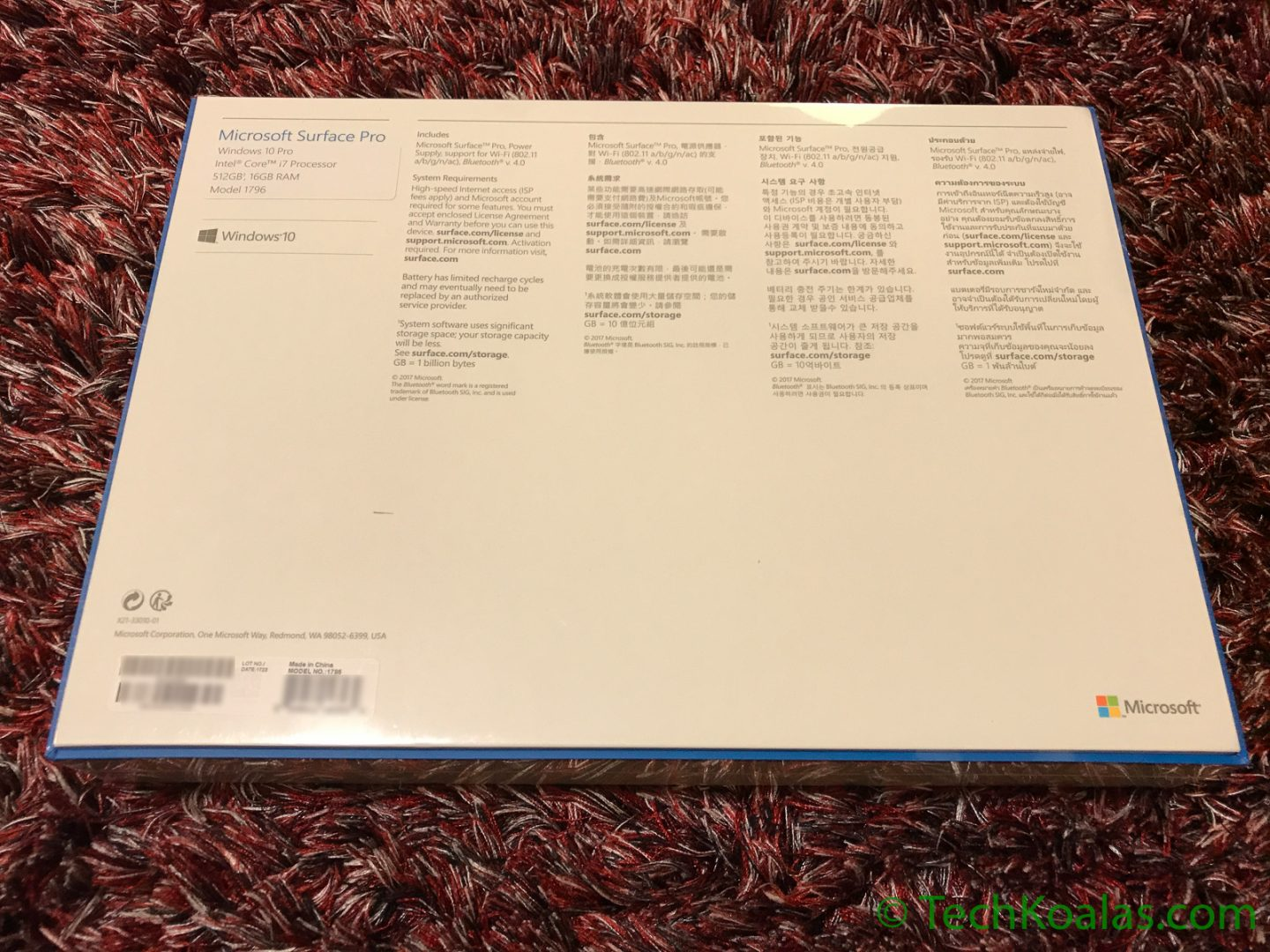 Figure 2. Microsoft Surface Pro - Back of the box shows the Surface model number and specs.
