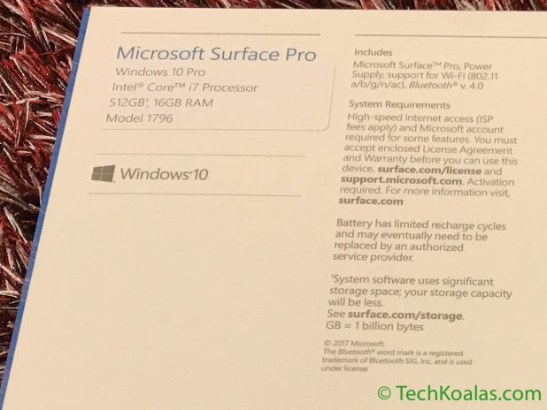 Figure 3. Microsoft Surface Pro - Details of processor, memory, SSD capacity and operating system are printed in the top left corner on the back of the box.