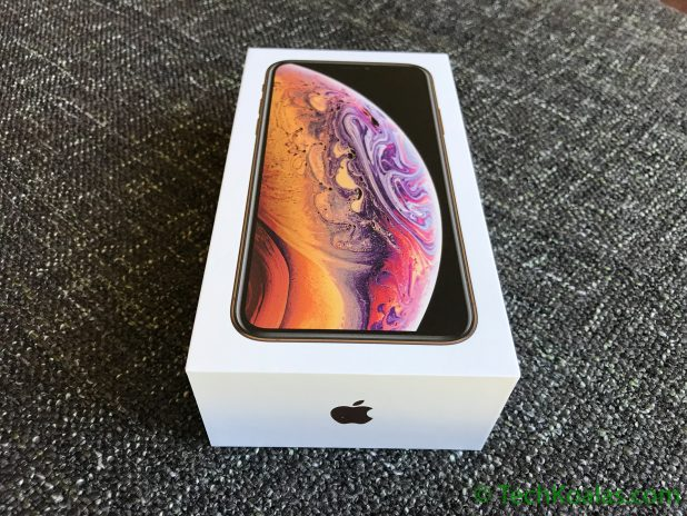 The box of the iPhone Xs still with its wrapping.